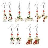MJARTORIA Damen Mädchen Weihnachtsschmuck Ohrringe Ohrstecker Silber Farbe mit Rot Beads Anhänger Charms 5 Stück (Rot)