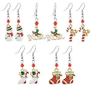 MJARTORIA Damen Mädchen Weihnachtsschmuck Ohrringe Ohrstecker Silber Gold Farbe mit Rot Grün Beads Anhänger Charms 5/6 Paare Set