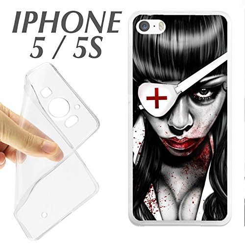 SA + Protector DE Cristal (OPCIONAL) iPhone 5 5S ENFERMERA Sangre Gore Halloween J567 - CARCASA+Protector ()