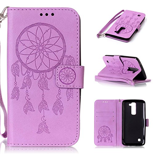 LG K7 Case, LG K7 Cover, Cozy Hut PU Leather Wallet Case for LG K7 Flip Case Bookstyle Cover Dreamcatcher Pattern Solid Color Folio Shell PU Cell Phone Holster with Hand Strap Stand Function Credit Card Slots Magnet Closure Anti-Drops Dustproof Protective Shell for LG K7 (5,0 Inch) - Purple Campanula