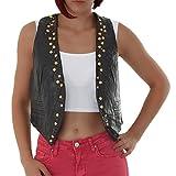 malucas Damen Lederlook Weste Biker-Look Schwarz Weiß 00398, Farbe:Schwarz, Größe:XL