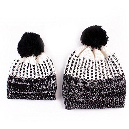 Babybekleidung Hüte & Mützen Longra 2PCS Mama und Baby Wolle stricken Keep Warm Hüte & Mützen (Black)