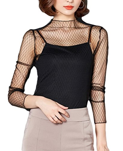 Smile YKK Top Transparent Femme Tulle Sexy T-Shirt Chemise Blouse Manches Longues Col Rond Mode Maille