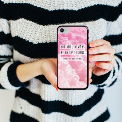 Apple iPhone X Silikon Hülle Case Schutzhülle Freunde BF Statement Hard Case schwarz