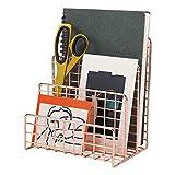 Morigem - Organizador de cartas con 3 ranuras para correos, archivos, libros, folletos y postales (oro rosa)
