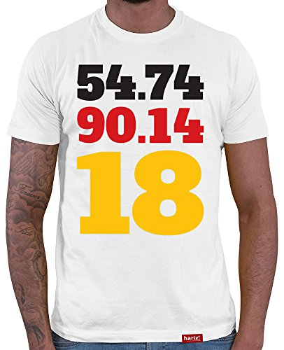 HARIZ  Deutschland Fussball Collection Herren T-Shirt Weiß Designs Wählbar Trikot Weltmeisterschaft EM Inkl Urkunde Bang Sticks WM 32 54 74 90 14 18 XS