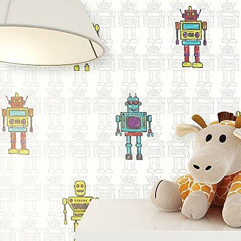 Kindertapete im Roboter Design Türkis, Gelb, Grün , schöne tolle Tapete für Jungen und Mädchen , Deco Technik inklusive Newroom Tapezier Ratgeber mit Tipps für perfekte Wände