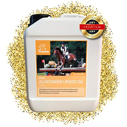 EMMA ♥ Leinöl für Pferde & Hunde I Sparset I Pferdefutter I Ergänzungsfutter I Omega 3-6 Fettsäure im Öl I kaltgepresst Vitamine A, D & E I glänzendes Fell & Energie I 2,5 Liter