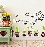 LXHLXN Topfpflanze Wandaufkleber Grüne Pflanzen Wandtattoos für Restaurant Shop Wohnzimmer Dekoration Wohnkultur Aufkleber 40x60 cm