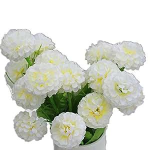 DAYAN 2 mazzo piante di ortensia Fiori Artificiali Fioritura in Seta Bouquet Decorazione per Cerimonia Matrimonio Party Casa colore bianco