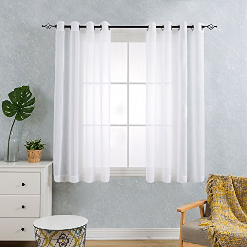 TOPICK Sheer Vorhang mit Ösen transparent Gardine 2 Stücke Gaze paarig schals Fensterschal Vorhänge 145 cm x 140 cm (H x B), 2er - Set, Weiß