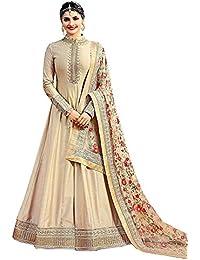 Prachi Desai Silk Floor Length Anarkali (Gray,Free Size,Vinay_7174)