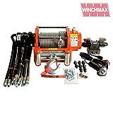 Winchmax - Cabrestante hidráulico con Cuerda de Acero (454 kg), Color Naranja