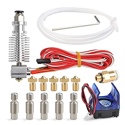 YOTINO All-Metal V6 J-Head Hotend Full Kit with 5 Pcs Extruder Brass Print Head + 5 Pcs Stainless Nozzle Throat for E3D V6 Makerbot RepRap 3D Printer