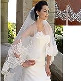 GYMAN Mode Braut Schleier Weiß Elfenbein Brautschleier Hochzeit Zubehör Spitze Rand Ehe mit Kristall Kamm (1 Schicht 3M lang), Ivory