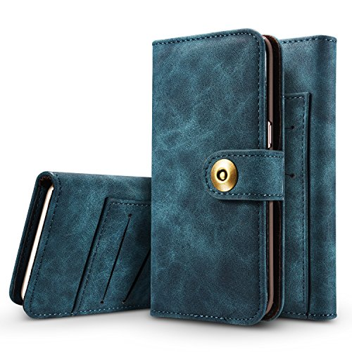 Hülle und Brieftasche,VENTER®removable protective sleeve, 2 positioning options, RFID protection, high-quality vegan leather, gift wrapping für Apple iPhone 6 Plus/6s Plus Saphir