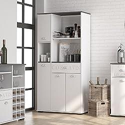 MD1 Suarez - Bufe alto 1 cajon 3 puertas, medidas 900 x 400 x 180 cm, color blanco-gris