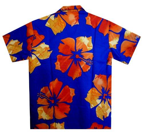 Original King Kameha Funky Hawaiihemd Herren XS - XXL Kurzarm Front-Tasche Hawaii-Print Große Blume verschiedene Farben Violett