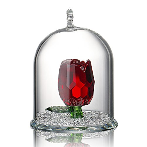 H & D Crystal ornament, design with figure inside a dome, ideal as a gift for her, metal, Red