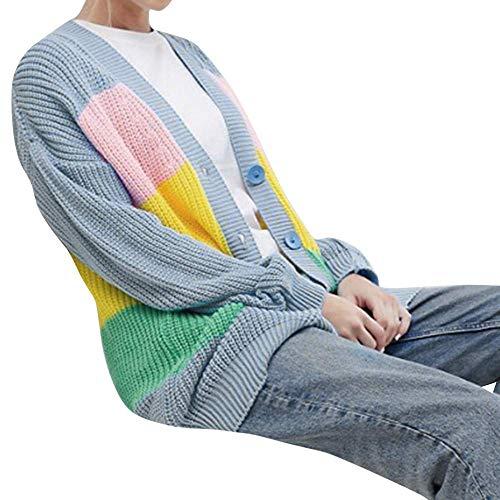 Damen Mäntel Frauen Outwear Winterjacke Langarmshirts Multicolor Gestreifter Cardigan Casual Gestrickte Pullover Lose Langarm Outwear Einfarbig (Farbe : Multicolored, Größe : EU-38/CN-M)