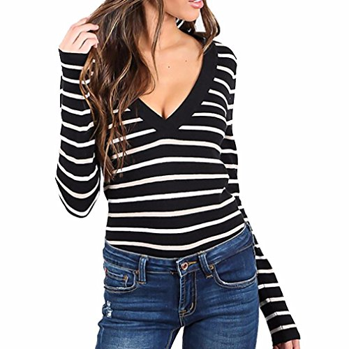 Damen Bluse,Honestyi Winter Herbst Frauen V-Neck T-Shirt Slim Langarm Stripe Pullover Bluse Tops (XL, Schwarz)