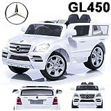 * 2x MOTORES–12V * Original Mercedes-Benz GL450GL 450coche con licencia/vehículo eléctrico para niños con mando a distancia portador bicicleta (color blanco)