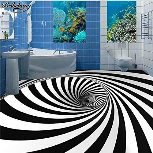 Apoart 3D Wandtapete Große 3D-Bodendekoration Anstrichhöhe Für Schwarz-Weiß Whirlpool Illusion 3D Stereo-Bodentapete450Cmx300Cm 1982 Auto Stereo