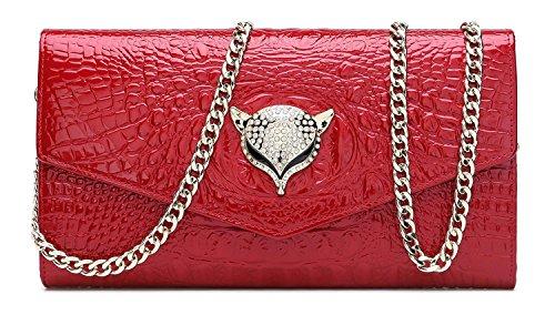 yacn Frauen Krokodil echtes Leder Umhängetaschen Abend Taschen mit Metall Kette für Mädchen Kupplung rot