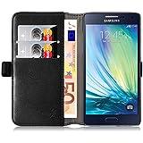 Galaxy A5 Hülle, JAMMYLIZARD Luxuriöse Flip Cover Ledertasche mit Kartenfach für Samsung Galaxy A5, SCHWARZ