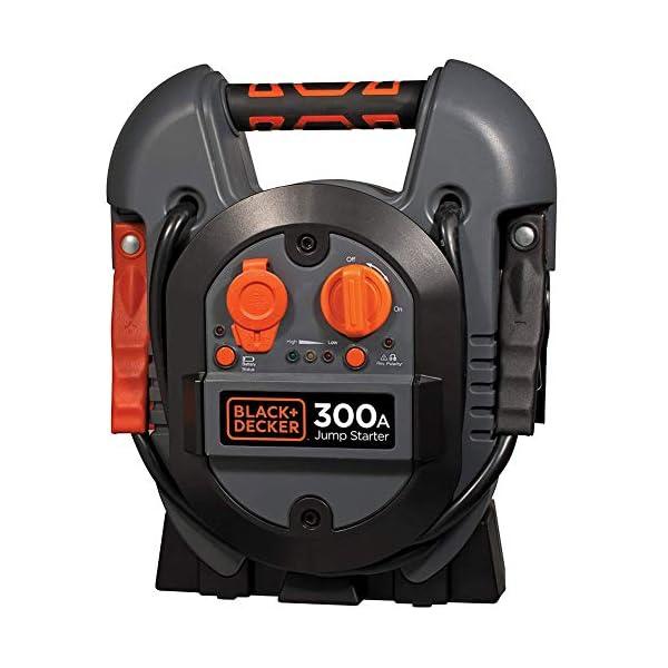 Black+Decker – Cargador de batería Jump Starter 300 A, toma de corriente USB 12V, arrancador de emergencia, batería portátil, potencia máxima con pinzas