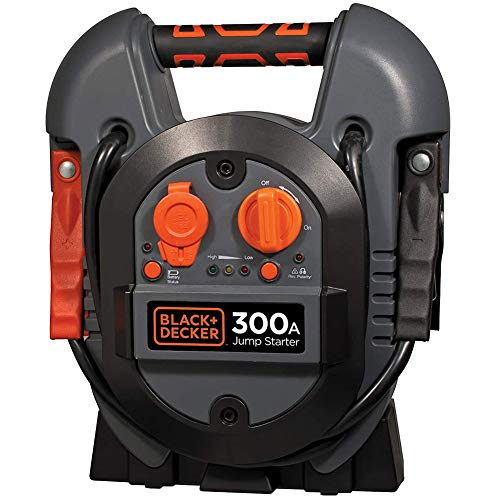 Black + Decker Jump Starter 300 Amp Caricabatterie Stazione di Energia USB 12V Avviatore di Emergenza Batteria Portatile Max Power con Morsett