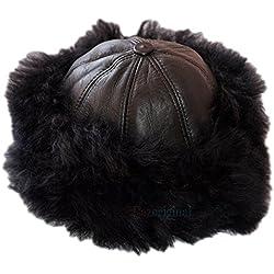 Dazoriginal Cosaco ruso Gorro Ruso Sombrero de las señoras Estilo de Rusia Gorra 100% Cuero para las Mujeres Esquí Gorra Sombrero de las mujeres para el invierno Gorro de aviador para Mujer Negro