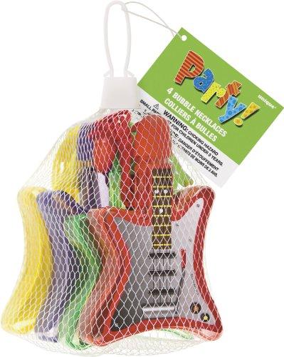 Unique Party Supplies Gitarre Bubble Halskette Tütenfüller, 4Stück (Kids Bubble Halskette)