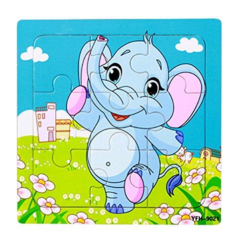 TianranRT Puzzle de elefante de madera 1PC Puzzle de elefante de madera Desarrollo de la educación Bebé Juguete de entrenamiento para niños B (B)