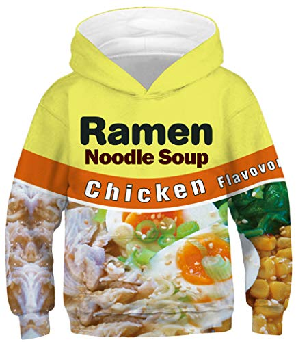 Ocean Plus Jungen Kapuzenpullover Bunt Teens Hoodie Kinder Langarm Pulli mit Kapuzen Sweatshirt Pullover (M (Körpergröße: 125-145cm), Hühnersuppe Nudeln) - Nudeln Machen