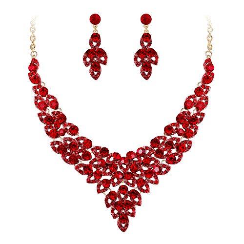 Ever Faith Damen Kristall Party Floral Hohl Blätter V-Form Halskette Ohrringe Set Red Gold-Ton