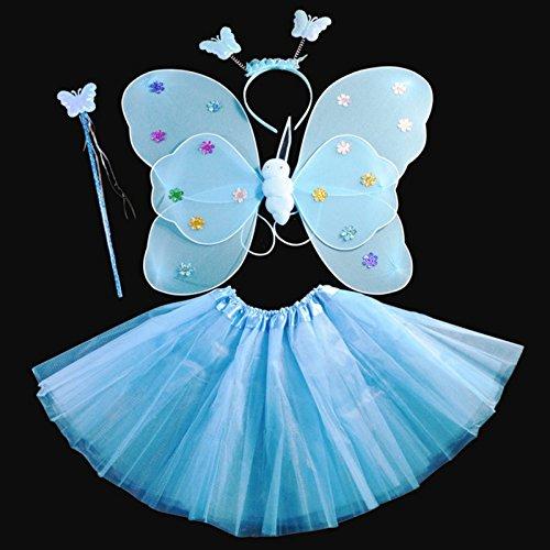 Kasit 4Stk Set Fairy Prinzessin Schmetterling Party Kostüm Wing Stab Stirnband Kleid Mädchen Fairy Rod Fairy Prinzessin Kostüm School Show - Blau (Halloween Schmetterling Wings)