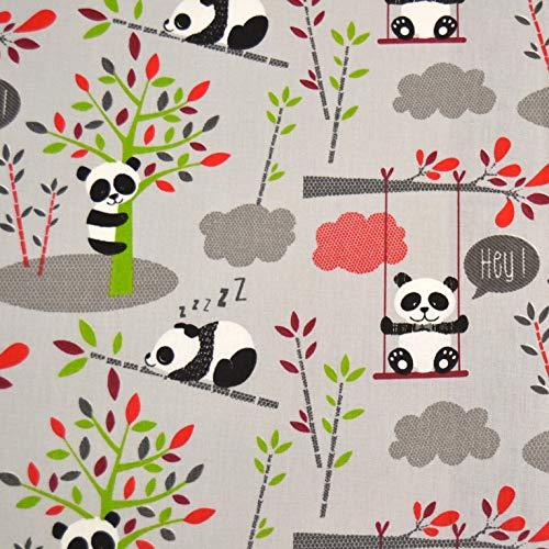 MAGAM-Stoffe Hey Panda grau Baumwollstoff Kinderstoff 100{9430baa9727fdc7b4cc885e16f877269cc055260e8f049c61deb4d267bd8b2f7} Baumwolle Oeko-Tex Meterware 25cm