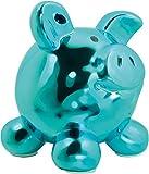Swiggie Porzellan Sparschwein Metallic Blau Glücksschwein Spardose Sparbüchse: Größe: 08,5 cm