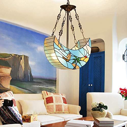 ChuanHan Ventiladores de Techo Lámparas de Araña de Luz Estilo de Tiffany Araña de Estilo Americano Bote de Cristal de Colores Lámpara Colgante Luces Decorativas para Restaurantes Sala