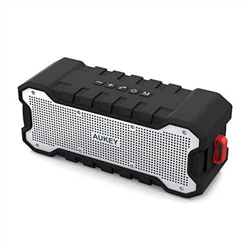 AUKEY Bluetooth Lautsprecher - Outdoor Bluetooth Speaker mit 24 Stunden Spielzeit, Tragbarem Wasserschutz und Verbessertem Bass, Kabelloser Lautsprecher für iPhone, iPad, Samsung und Weitere Geräte, Schwarz