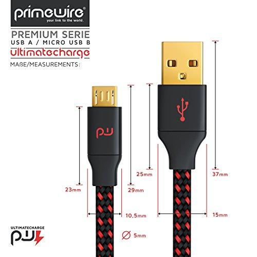 CSL - 2m Micro USB Schnellladekabel mit Datenübertragung | Kabel mit Nylonmantel / besonders strapazierfähig | UltimateCharge 18/24 AWG / optimiert für Ladevorgänge | für Samsung, HTC, Huawei, Motorola, Nokia, LG, HP, Sony, Blackberry usw. - Bild 3