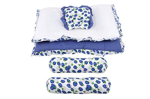 Baby Grow Strawberry Print Baby Bedding Set (Blue)