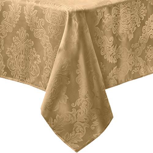 Barcelona no-iron Boden aus widerstandsfähigem Stoff damast Tischdecken, Polyester-Mischgewebe, gold, 60