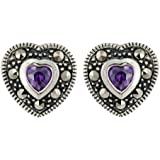 Ornami Sterling Silver Amethyst and Diamond accent Stud Earrings
