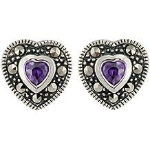 Boucles d'oreille - B10/021 - 22265 - Pendientes de mujer de plata con amatistas y marcasitas