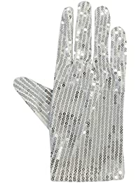 White Silver Sparkly Sequinned Fancy Dress Party Michael Jackson Glove