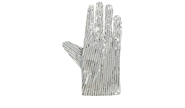 White Silver Sparkly Sequinned Fancy Dress Party Michael Jackson Glove   Amazon.it  Abbigliamento ace6a836ed9c
