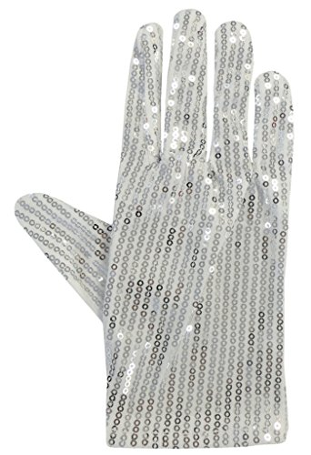 Silber-Weiß, Pailletten Kostümfest Handschuh Michael Jackson Billie Jean