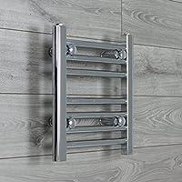 companyblue 300mm Wide Chrome Heated Towel Rail Radiator Flat Ladder for Stylish Bathroom (300 x 400 mm)
